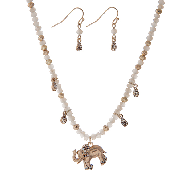 Wholesale gold necklace white faceted beads elephant pendant