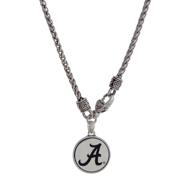 Wholesale officially licensed University Alabama silver necklace front lobster c