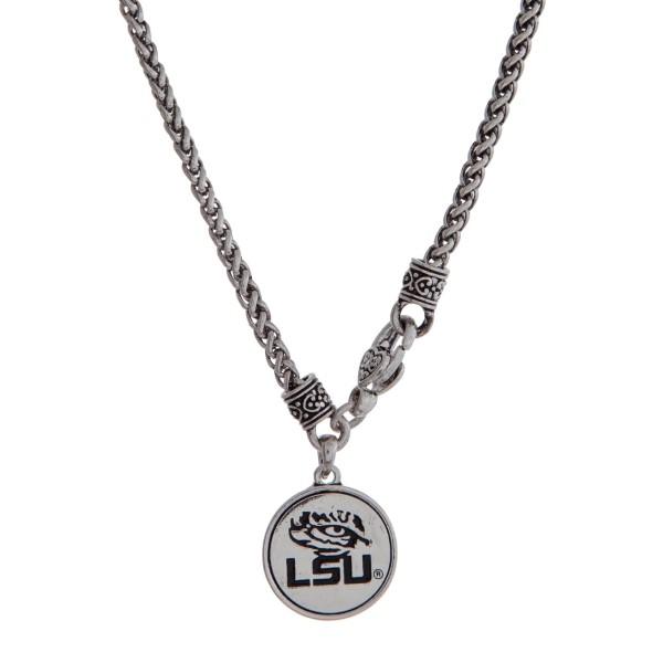 Wholesale officially licensed LSU silver necklace front lobster claps logo charm