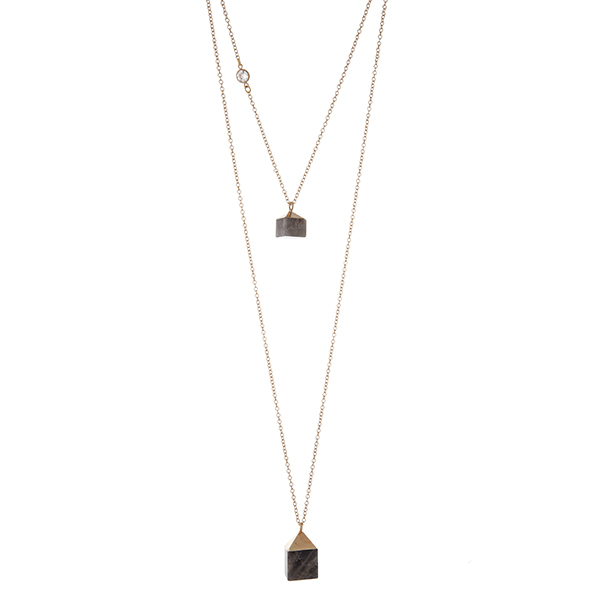 Wholesale gold double layer necklace two square gray natural stones Handmade USA