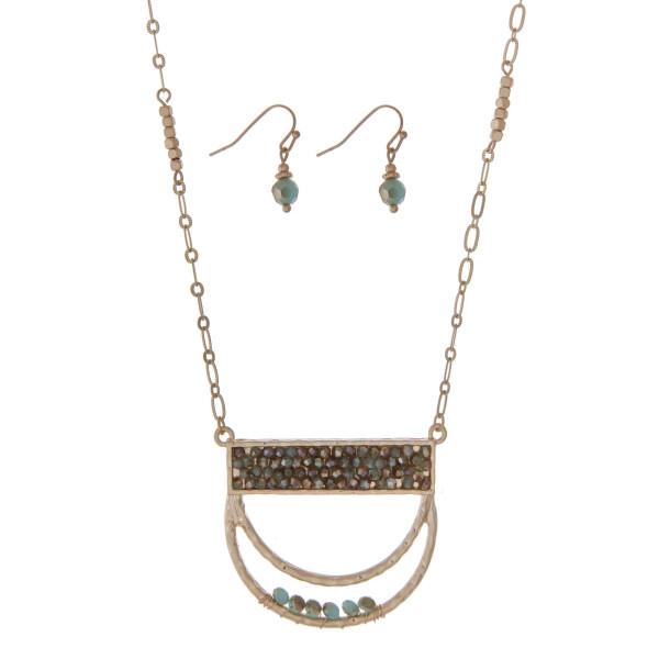 Wholesale gold necklace set half circle pendant turquoise beads