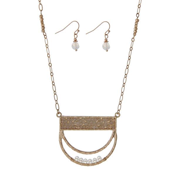 Wholesale gold necklace set half circle pendant white opal beads