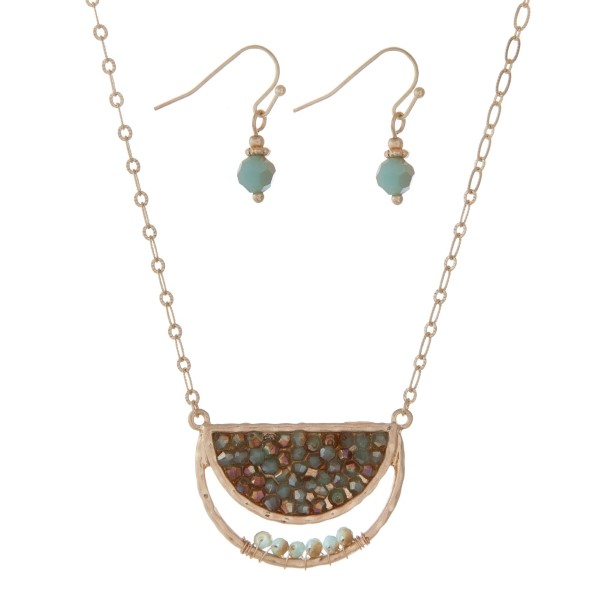 Wholesale gold necklace set half circle turquoise beads