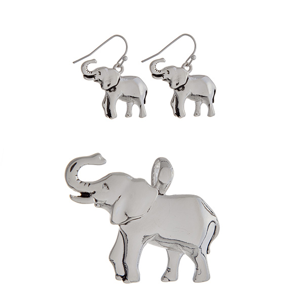 Wholesale silver pendant earring set displaying elephants