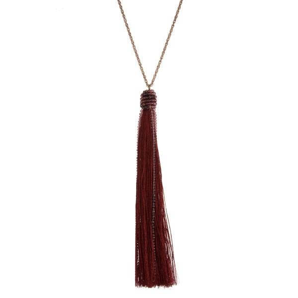 Wholesale gold necklace crimson beaded fabric tassel
