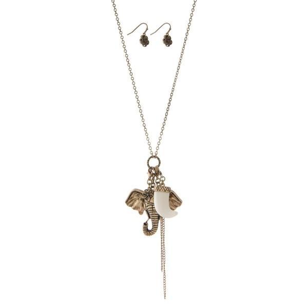 Wholesale gold necklace set elephant horn tassel pendant charms