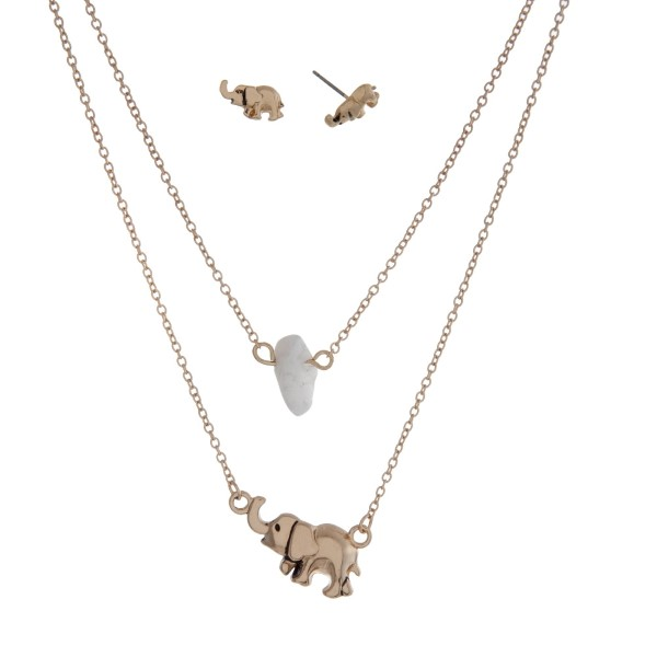 Wholesale dainty double layer necklace elephant pendant white chip stone