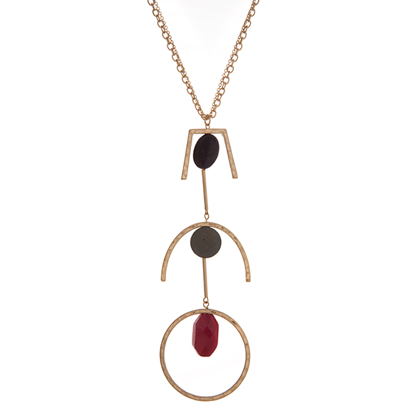 Wholesale gold necklace geometric pendant navy gray red stones