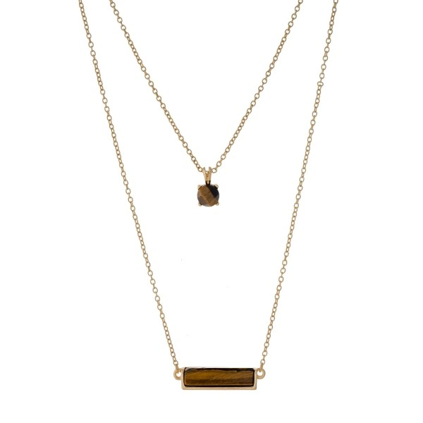 Wholesale dainty gold double layer necklace tiger s eye stones