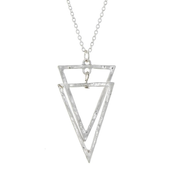 Wholesale dainty silver necklace interlocking triangle pendant