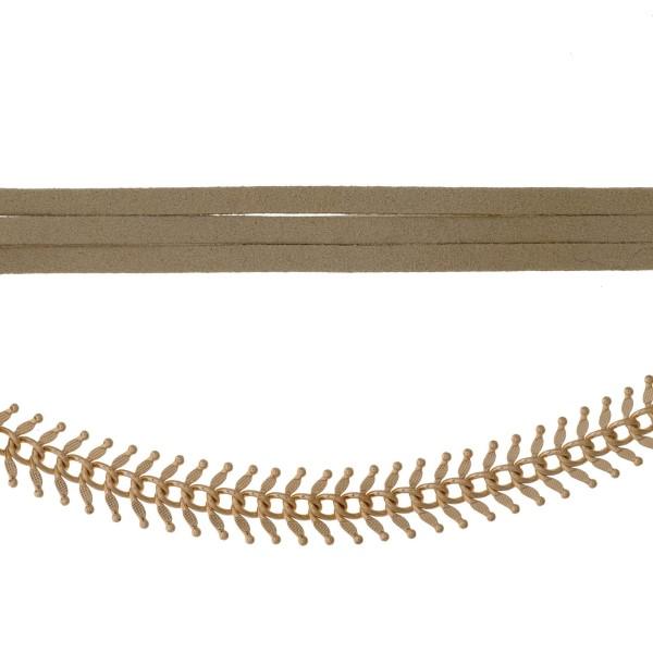 Wholesale tan suede wrap choker necklace gold front