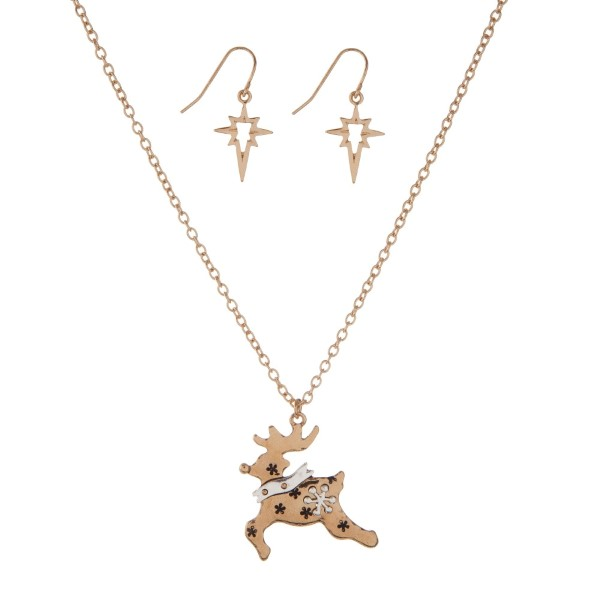 Wholesale gold necklace set reindeer pendant matching fishhook earrings