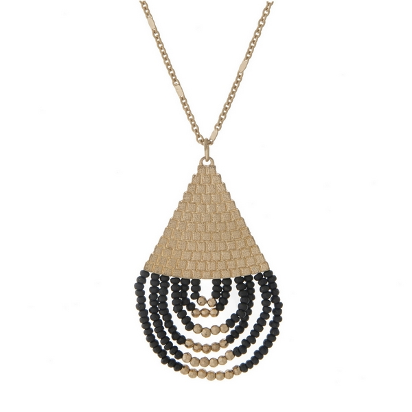 Wholesale gold necklace half black beaded teardrop pendant