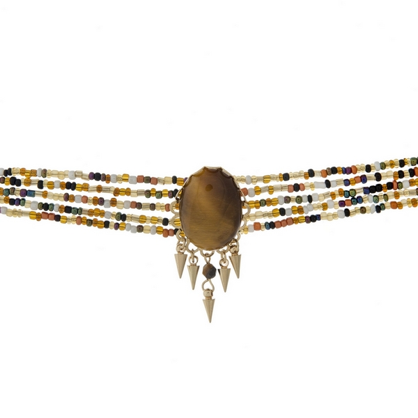 Wholesale multi row beaded choker brown faceted stone gold accents