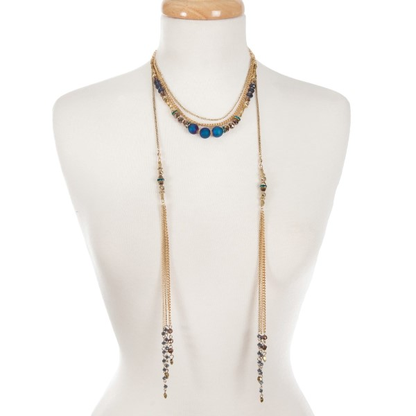 Wholesale gold multi layer necklace bronze blue beads