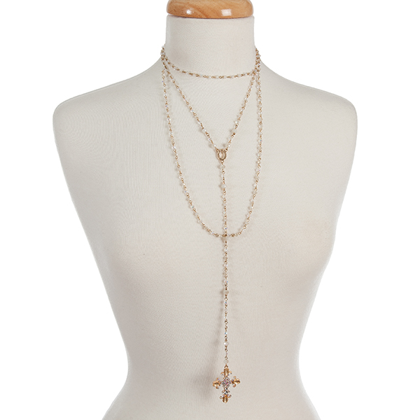 Wholesale gold clear iridescent beaded layered Y necklace cross pendant