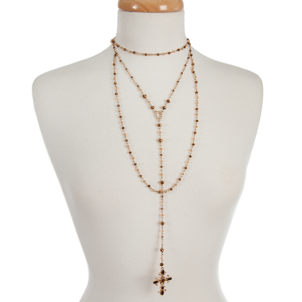 Wholesale gold bronze beaded layered Y necklace cross pendant