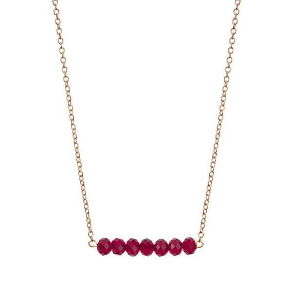 Wholesale gold beaded bar necklace maroon faceted beads