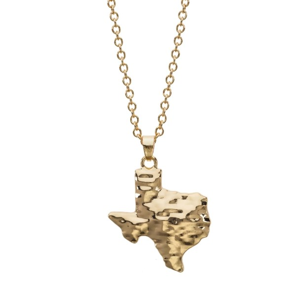 Wholesale gold necklace hammered pendant Texas