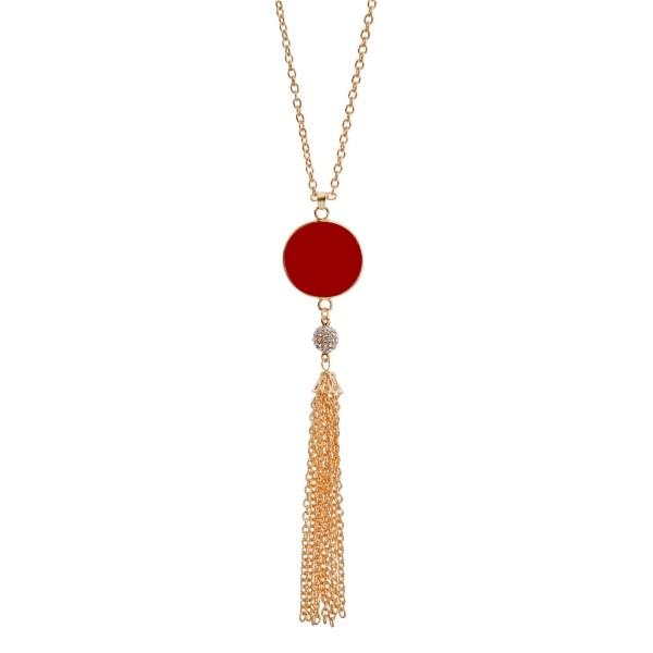 Wholesale gold necklace crimson epoxy circle pendant vinyl monograms chain tasse