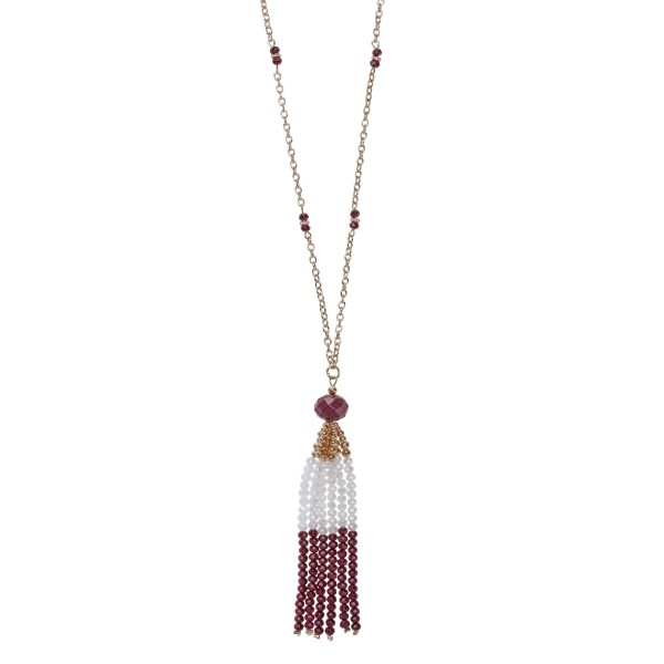 Wholesale gold necklace maroon white beaded tassel pendant