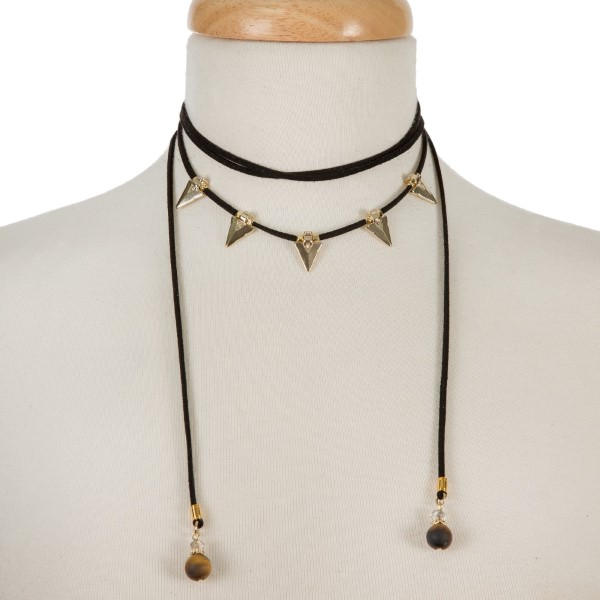 Wholesale black suede cord choker necklace gold arrowheads tiger s eye beads Adj