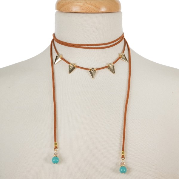 Wholesale brown suede cord choker necklace gold arrowheads turquoise beads Adjus