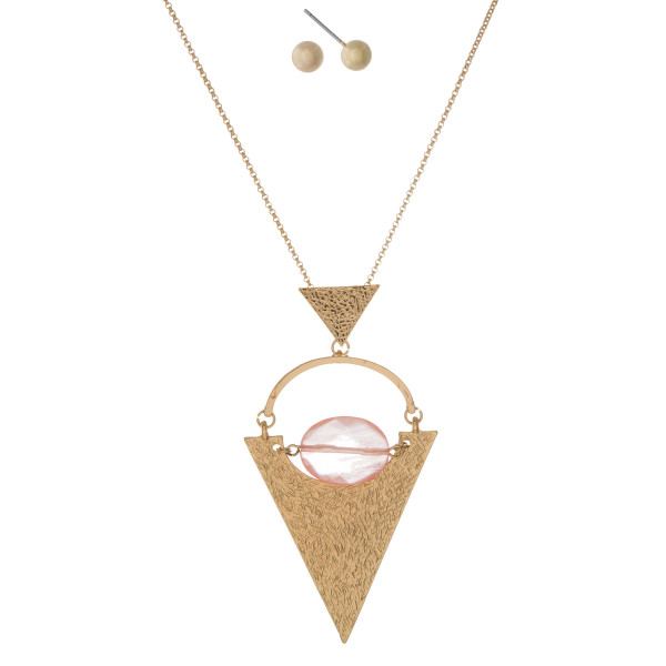 Wholesale gold necklace hammered gold triangle pendant faceted peach bead