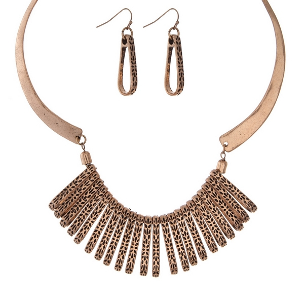 Wholesale burnished gold statement necklace set matching fishhook earrings
