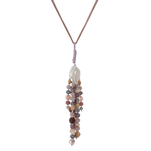 Wholesale gold necklace pink purple ivory beaded tassel