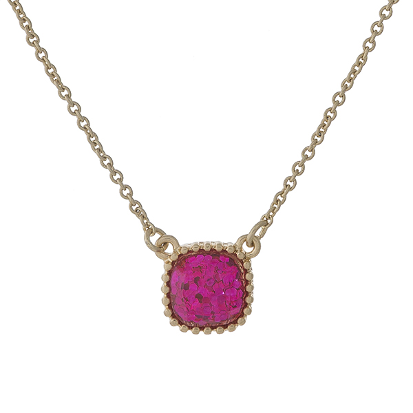 Wholesale dainty gold necklace pink glitter pendant