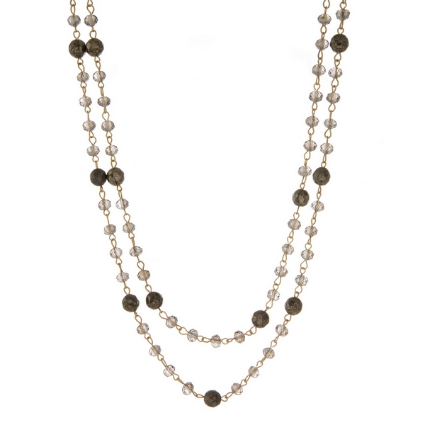 Wholesale gold wrap necklace gray pyrite beads