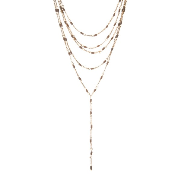 Wholesale gold multilayer Y necklace gray beads