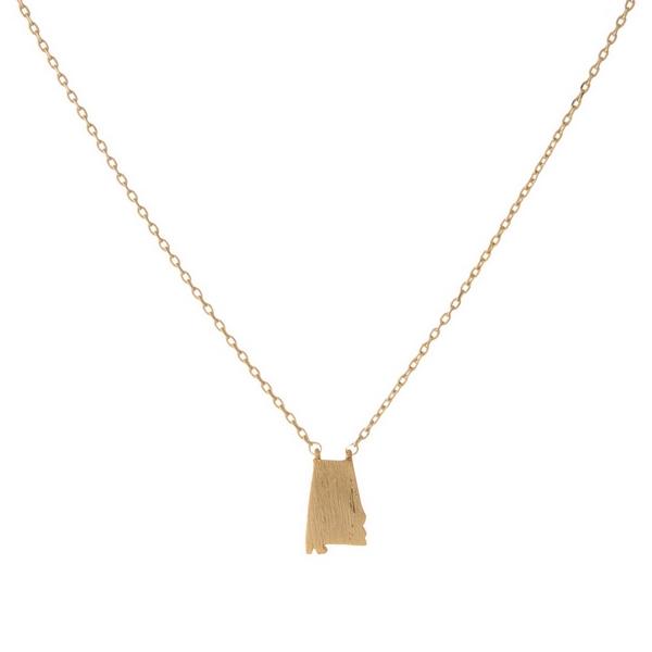 Wholesale dainty gold necklace brushed Alabama pendant Pendant mm adjusts