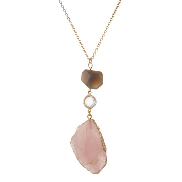 Wholesale gold necklace pink agate stone pendant gray bead accent