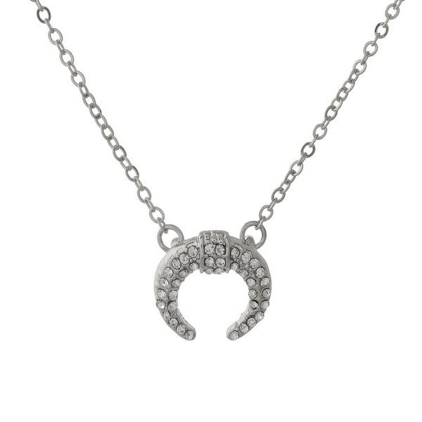 Wholesale dainty silver necklace crescent pendant