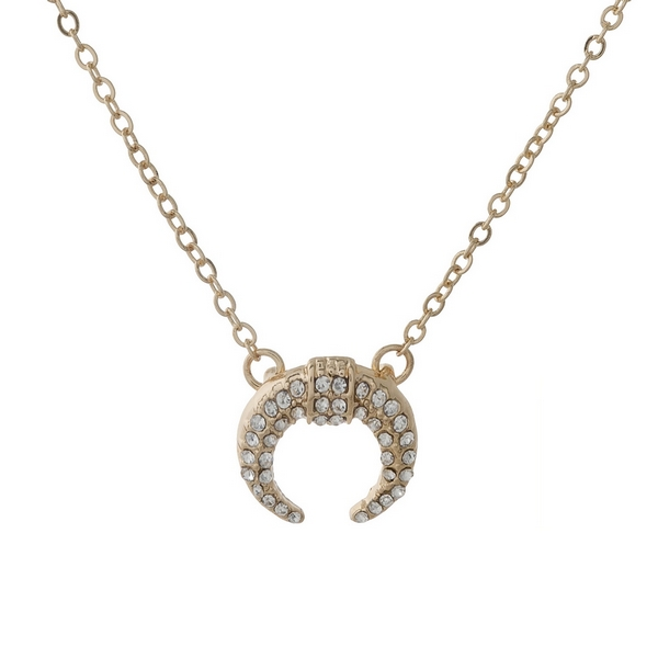 Wholesale dainty gold necklace crescent pendant