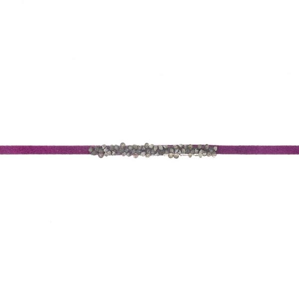 Wholesale purple faux suede choker hematite gray stones