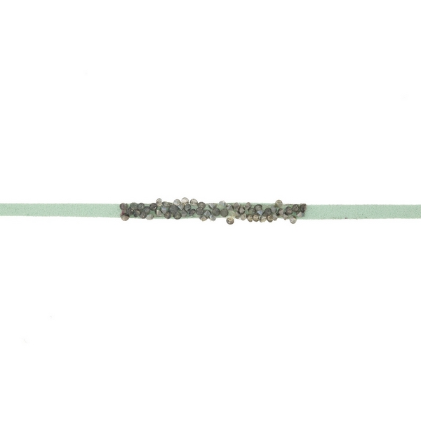 Wholesale mint green faux suede choker hematite gray stones