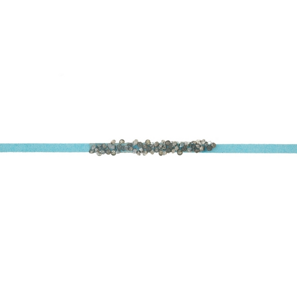 Wholesale turquoise faux suede choker hematite gray stones