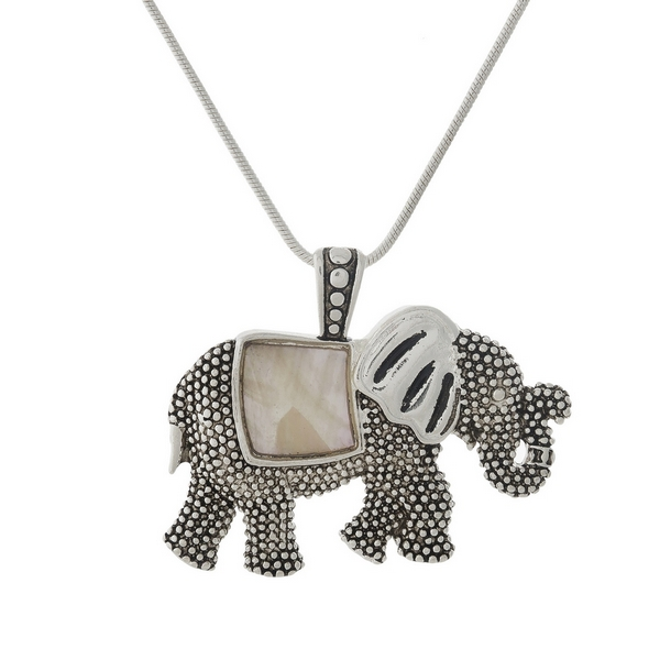 Wholesale silver necklace mother pearl elephant pendant