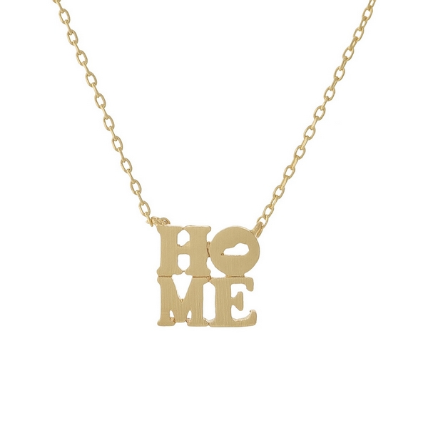 Wholesale gold necklace displaying HOME pendant state Kentucky O pendant