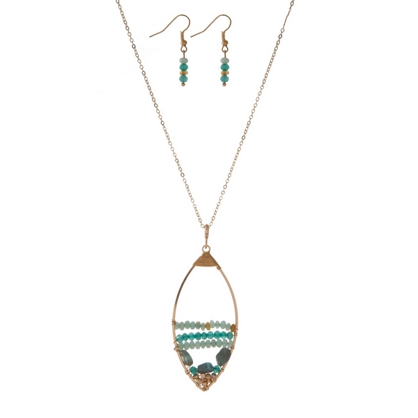 Wholesale gold necklace set displaying open teardrop wire wrapped mint green bea