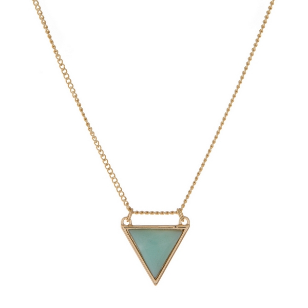 Wholesale dainty gold necklace displaying mint green semi precious triangle ston