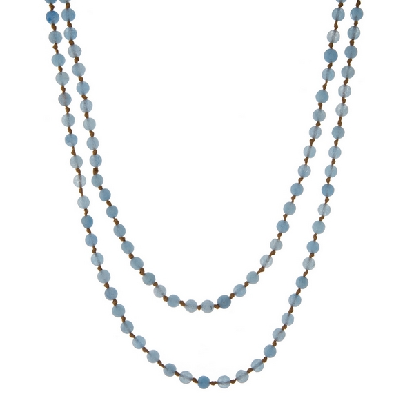 Wholesale tan knotted cord wrap necklace displaying light blue natural stone bea
