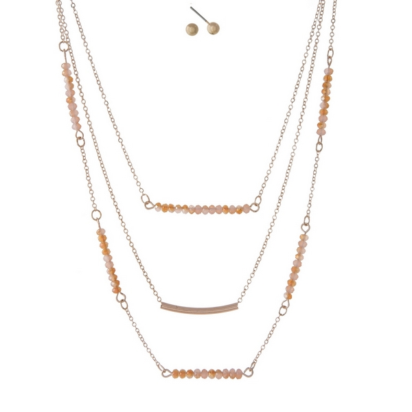 Wholesale dainty rose gold three layer necklace set peach beads curved bar penda