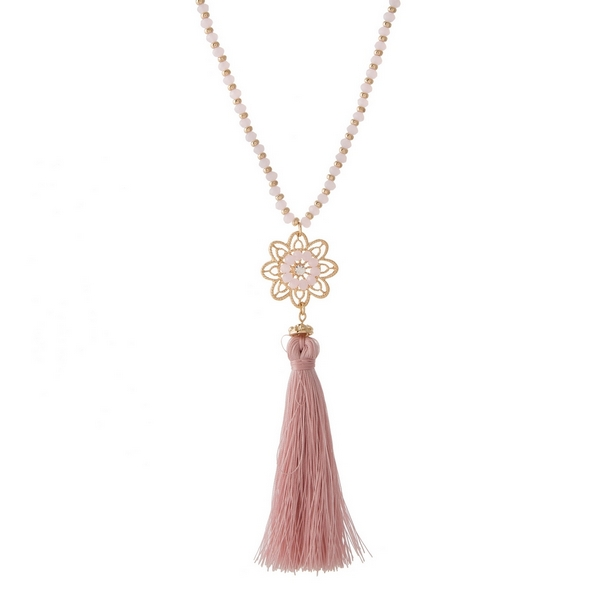Wholesale gold necklace flower pendant pink fabric tassel pink beaded accents