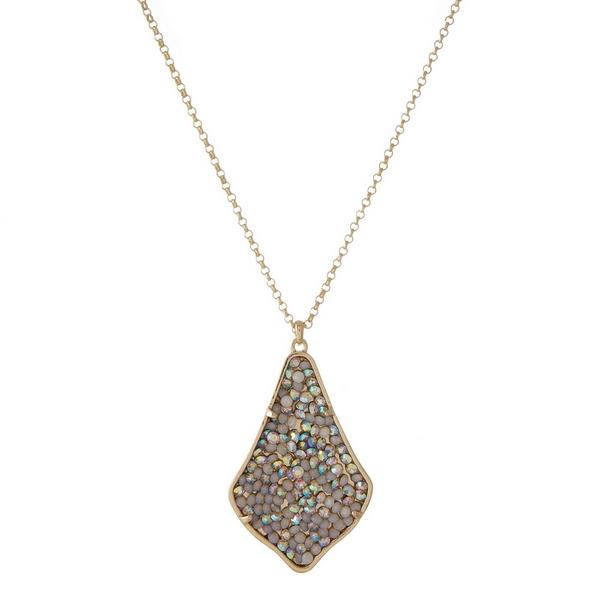 Wholesale gold necklace teardrop pendant embellished opal iridescent rhinestones