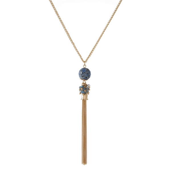 Wholesale gold necklace blue natural stone pendant chain tassel