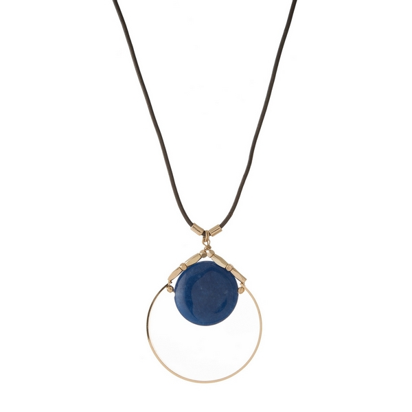 Wholesale gray leather cord necklace open gold circle pendant blue natural stone